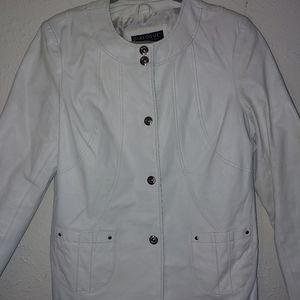 Dialogue meduim women's white leather jacket